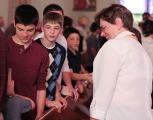 photo parishioners mass happy