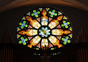 photo stain glass rose window