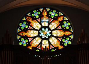 photo stain glass rose window