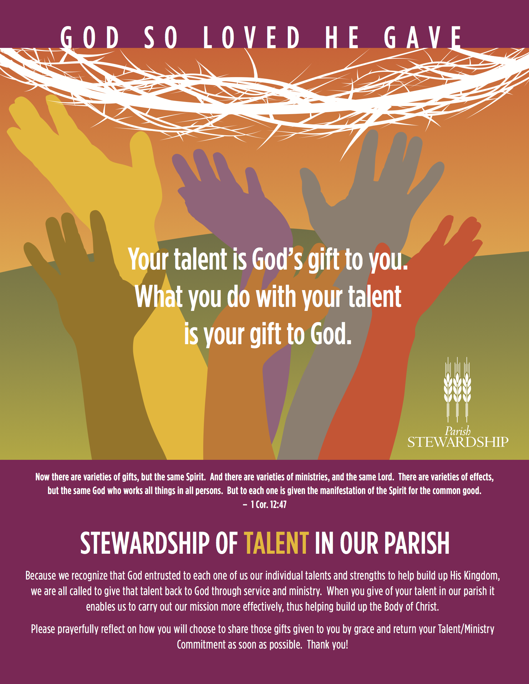 Stewardship Of Talent Saint Patrick Catholic Church