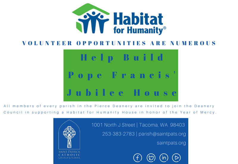 Help build pope francis 39 jubilee house saint patrick for Help me build a house