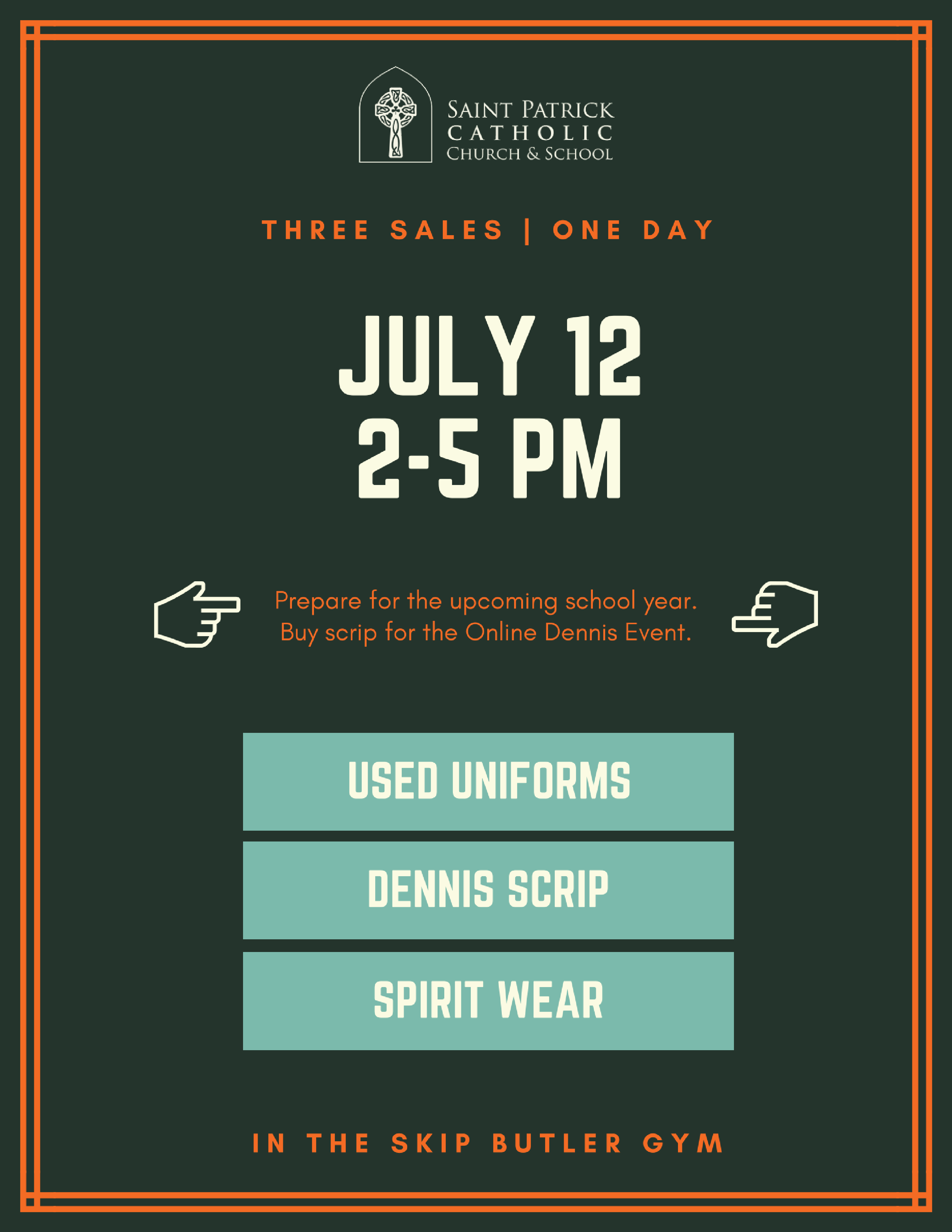 used uniform sale - St  Pat's Catholic School
